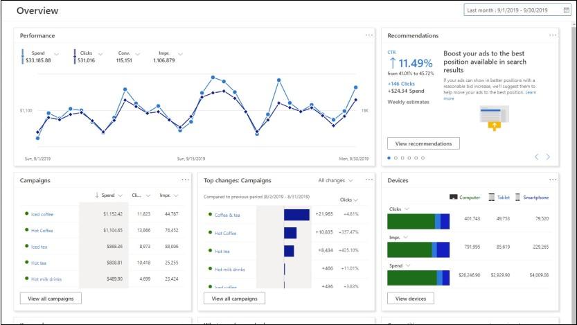 Microsoft Advertising's new interface